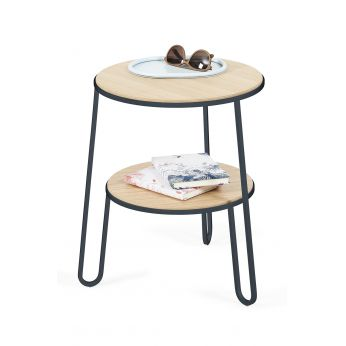 Anatole - Side table in slate grey varnished metal, with wooden top