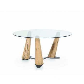 Latona - Table in oak wood with transparent glass top, round