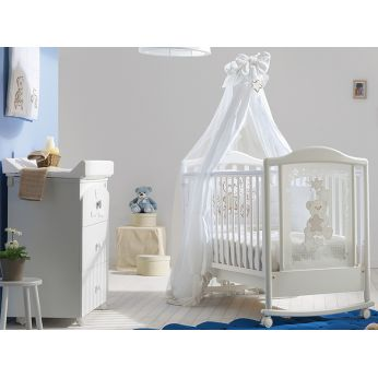 Meggie - Cot in beech wood, white laquered, matching with Meggie F baby bath
