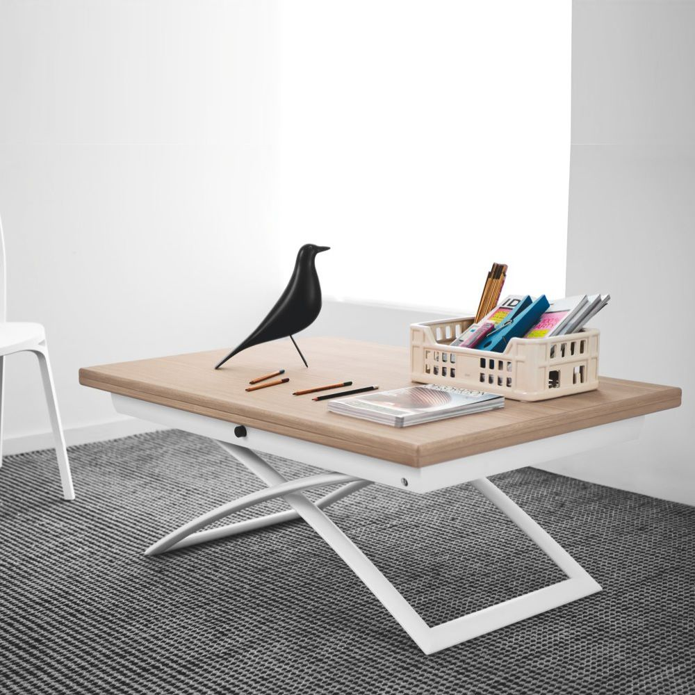 Extendable and adjustable in height table made of matt optic white metal, with veneered wooden top, natural finish