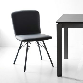 CB1662 Emma - Chair with metal frame and seat covered with imitation leather, grey version