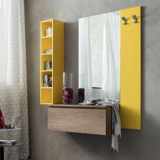 PA631 - Entrance furniture with mirror, lacquered panel, vertical box and hangers, available in several colours