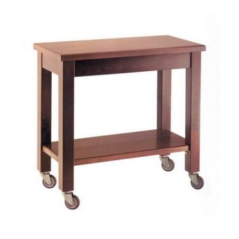 Gheridon GH M - Table trolley for restaurant, in solid beech varnisched walnut colour