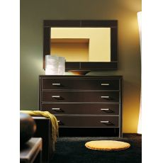 Alice-C - Chest of drawers with 4 drawers entirely covered with bonded leather, dark brown colour