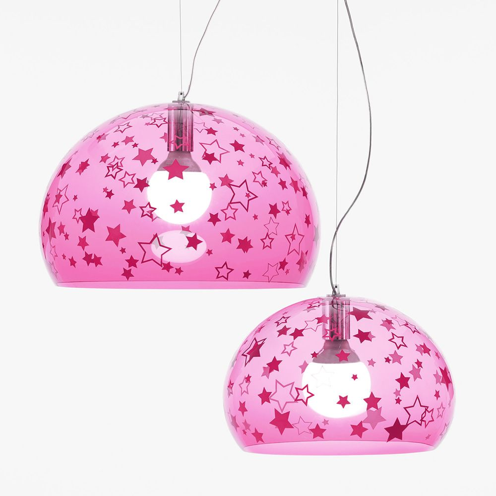 Design Kartell suspension lamp, pink stars, L and S size