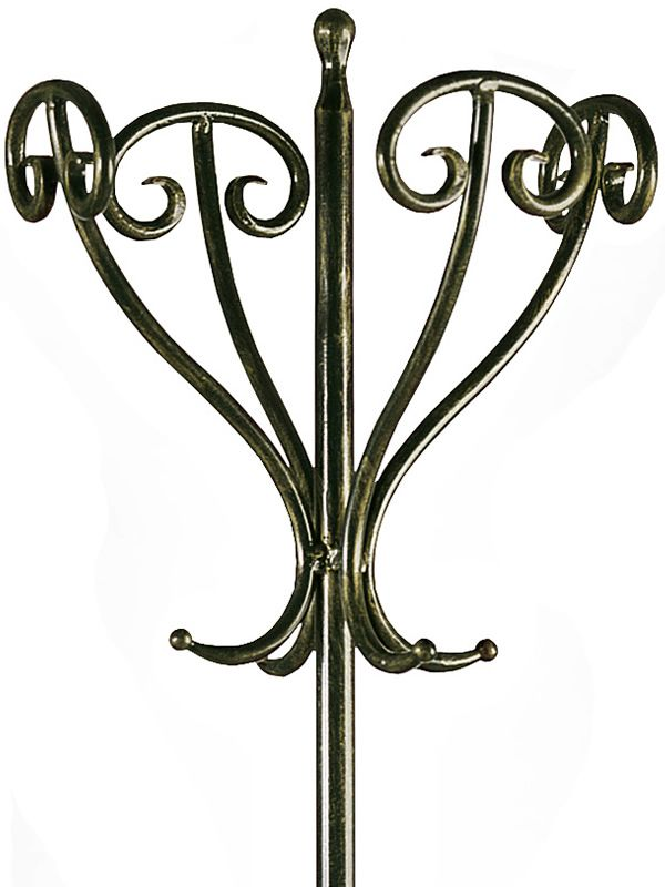 Detail of the wrought-iron coat stand varnished in black with antique golden effect