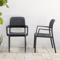 Bora - Armchair in fiber glass resin, stackable, also for garden