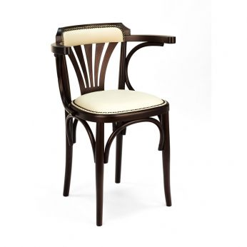 SE620 - Wooden chair in dark walnul dyed, imitation leather in cream colour