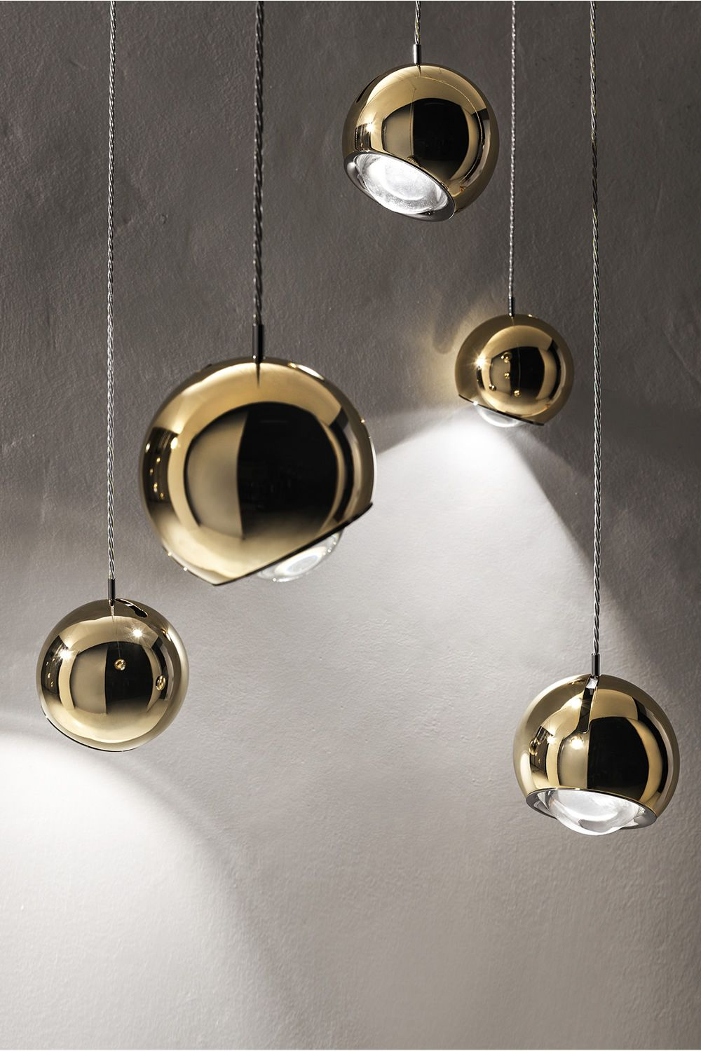 Design pendant lamp, in gold painted metal