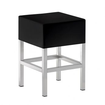 Cube 1403 - Low bar stool, in metal with black leather seat