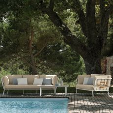 Soho Set - Outdoor design set: sofa + 2 armchairs + 1 coffee table 110x60 cm