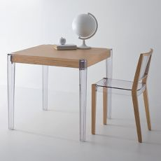 Together T - Design table, with legs in polycarbonate and top in oak, fixed, square, available in different sizes and colors