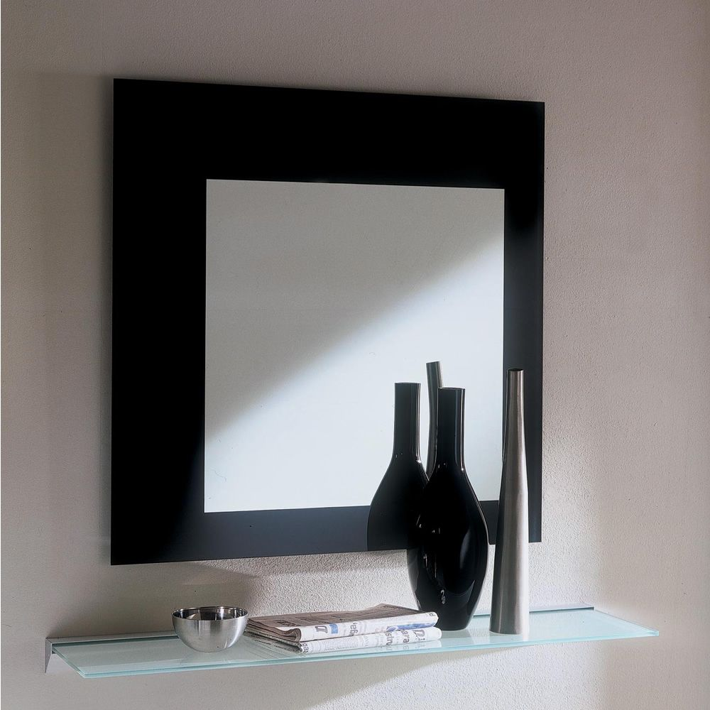 Mirror framed with glossy black lacquered glass, medium (M) squared version