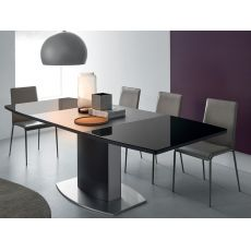 CB4726 Sydney - Connubia Calligaris extendable metal table with glass top 140 x 100 cm