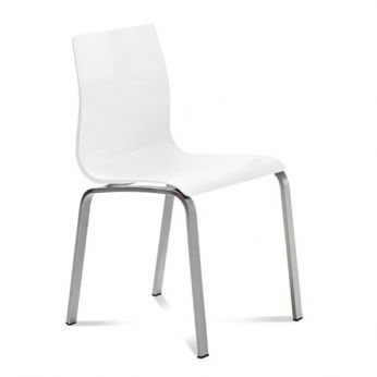 Gel-R - Chair made of satin aluminium varnished metal with SAN seat in white colour