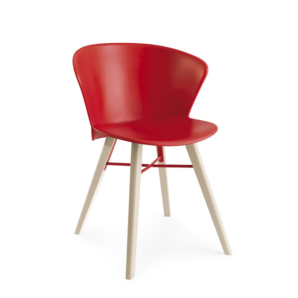 Modern chair in wood and metal, with red polypropylene seat