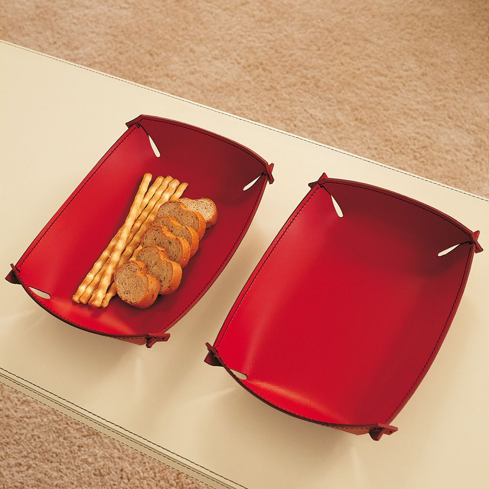 Tray for knickknacks entirely covered with bonded leather, different colours available (size: M - rectangular)