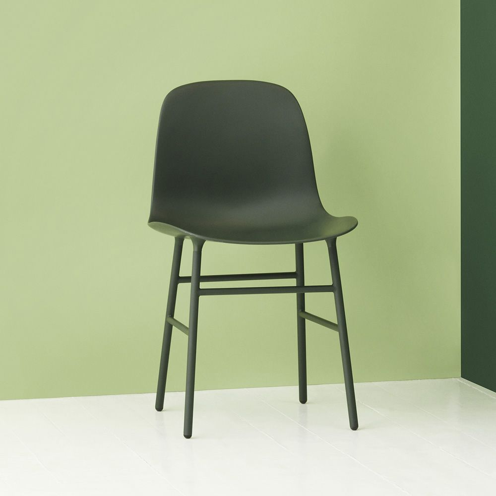 Chair made of lacquered metal with polypropylene seat, green version