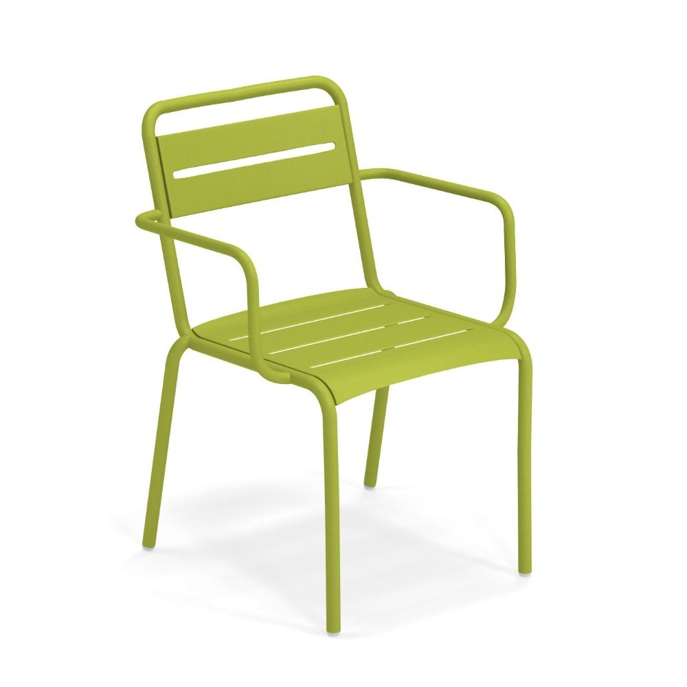 Green varnished metal armchair