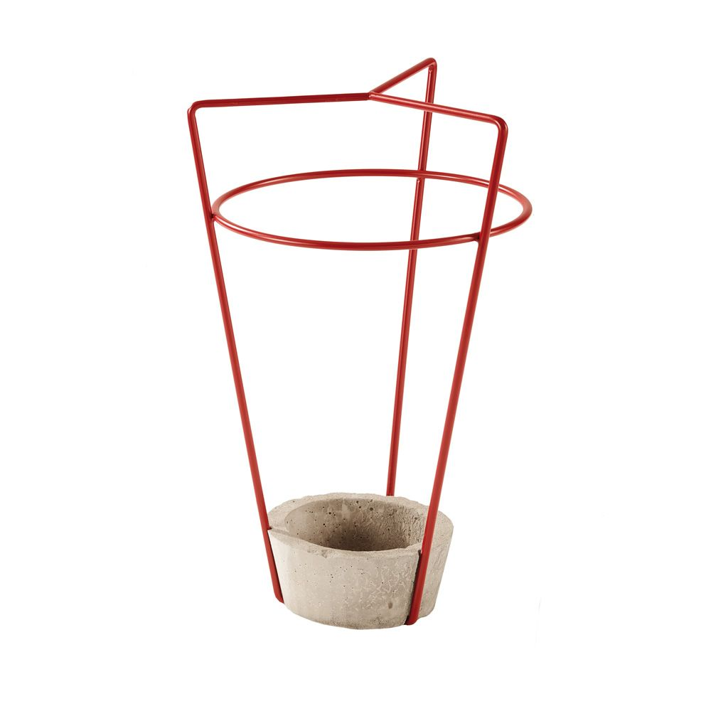 Umbrella stand in ruby red varnished metal and concrete