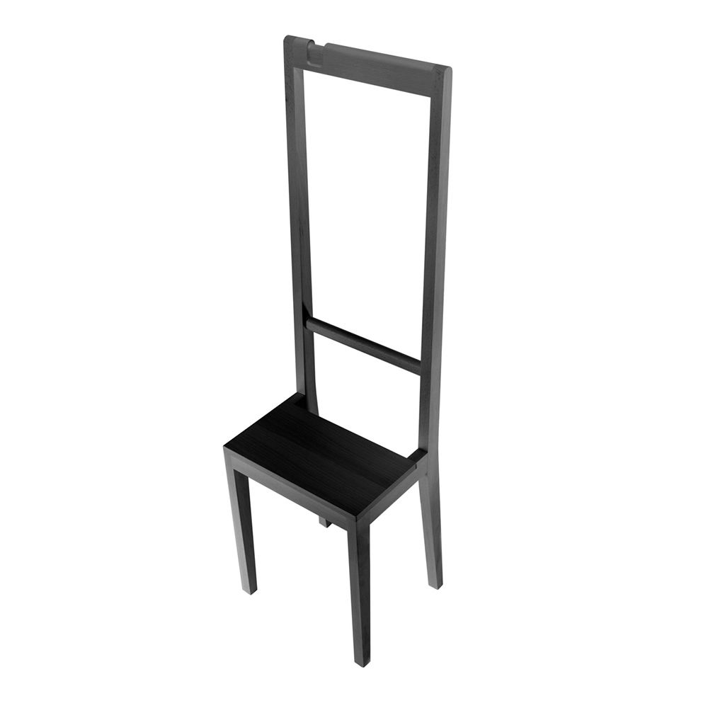 Chair-coat rack in black lacquered beech wood