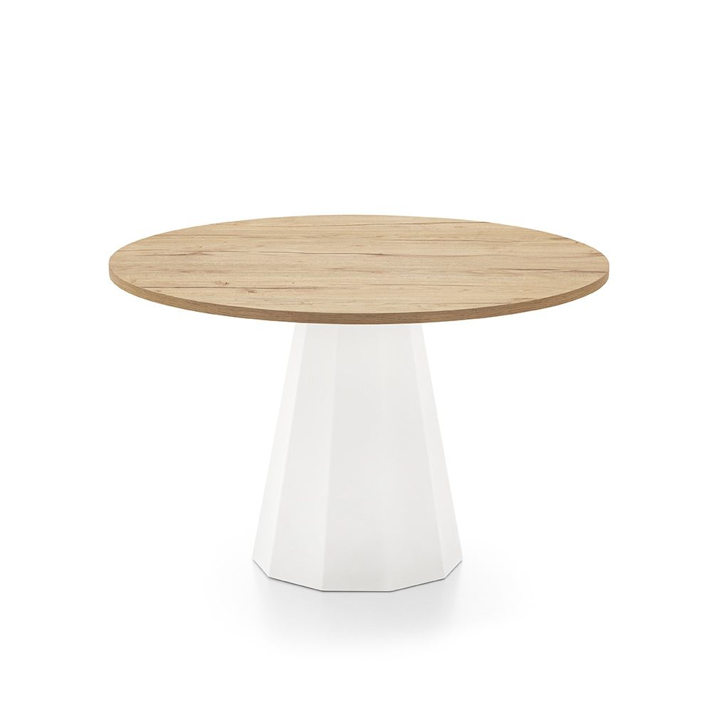 Connubia table with white structure and natural oak tabletop