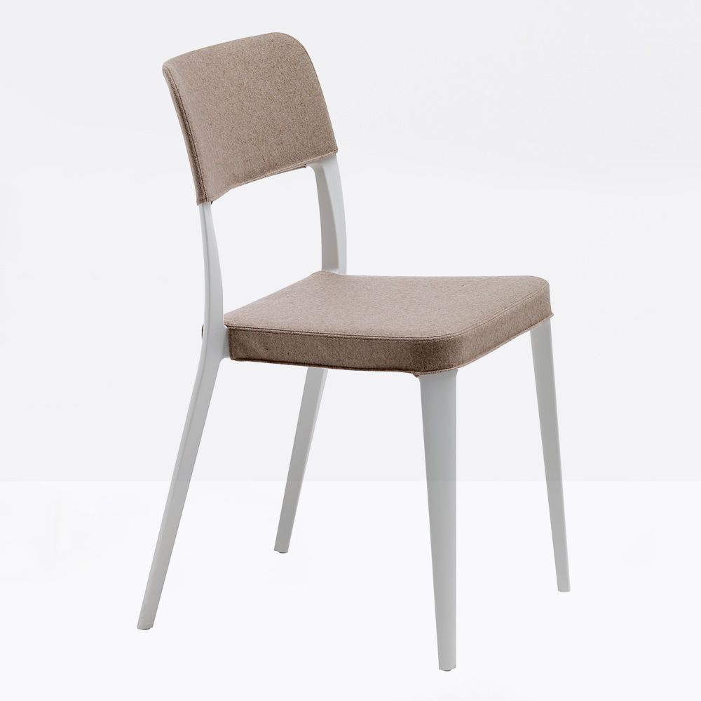 Chair with white polypropylene frame, different upholsteries and colors available