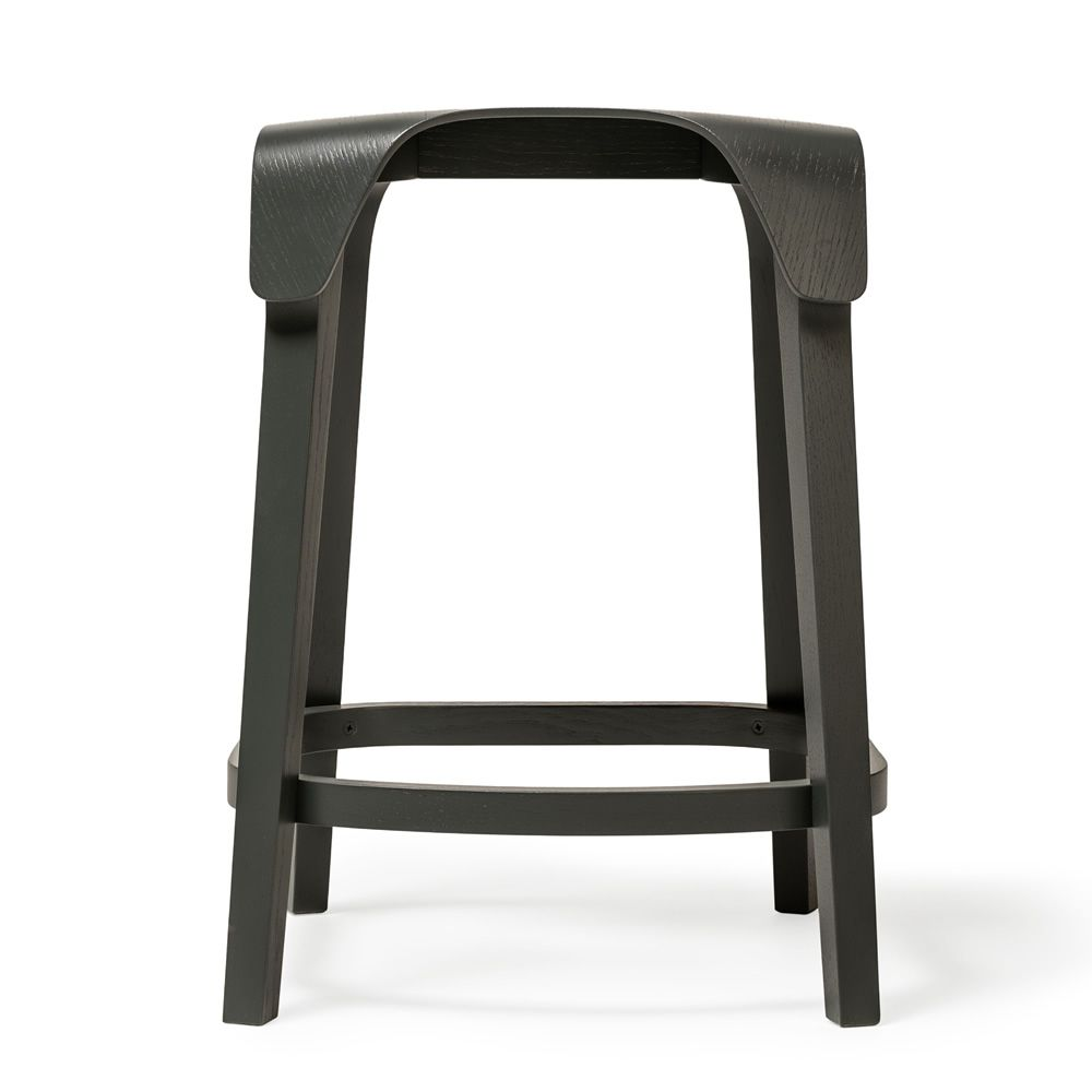 Low stool in black stained beech wood