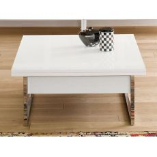 Didone Q - Transformable coffee table made of metal, with wooden top, 90 x 90 cm