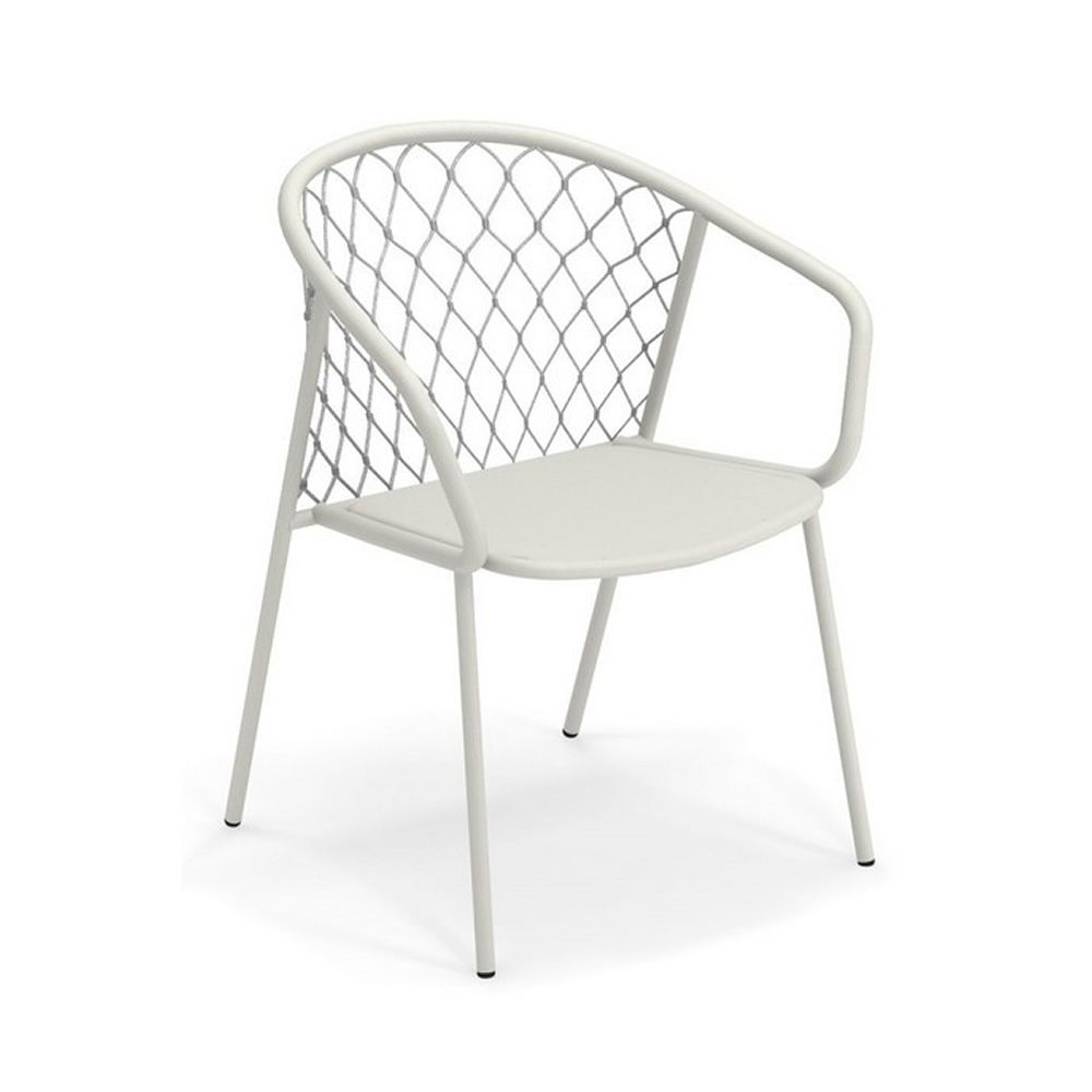 White varnished metal armchair