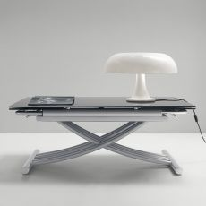Mix - Midj metal table, glass top, extendable and adjustable in height