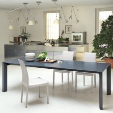 Apollo - Midj extendible metal table, wooden, glass or crystalceramic top, 140 x 90 cm