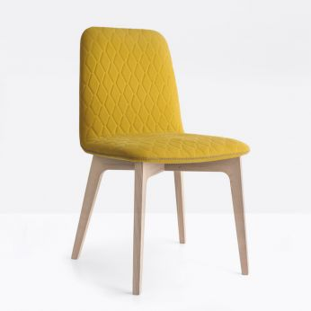 CB1472 Sami - Chair with ash wooden frame, natural finish, and seat covered with fabric, mustard yellow colour
