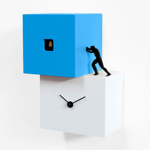 Cuckoo clock in wood, small and light blue version
