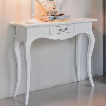 Crile 1454 - Classic console made of almond white lacquered wood, with drawer
