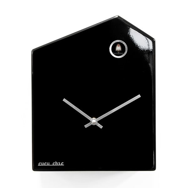 Polished black wood cuckoo clock