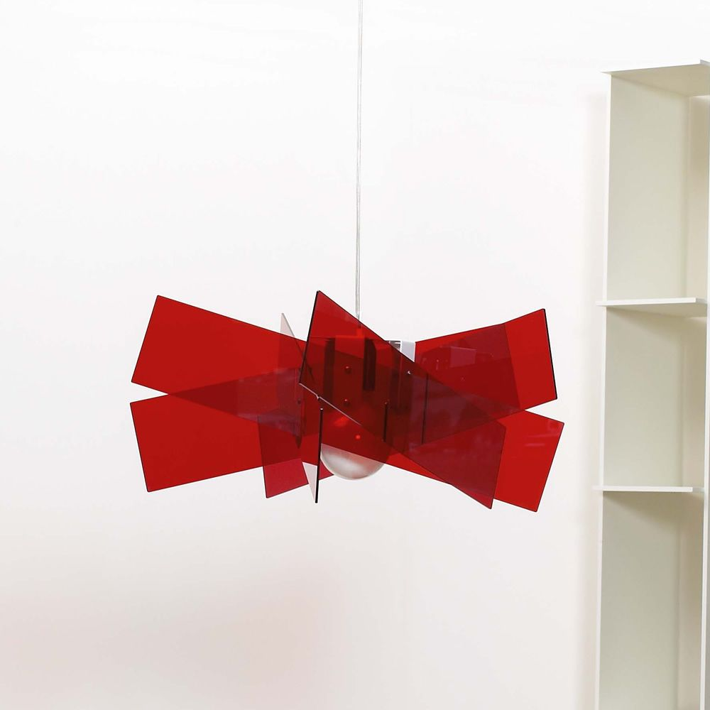Suspension lamp with methacrylate lampshade, red colour