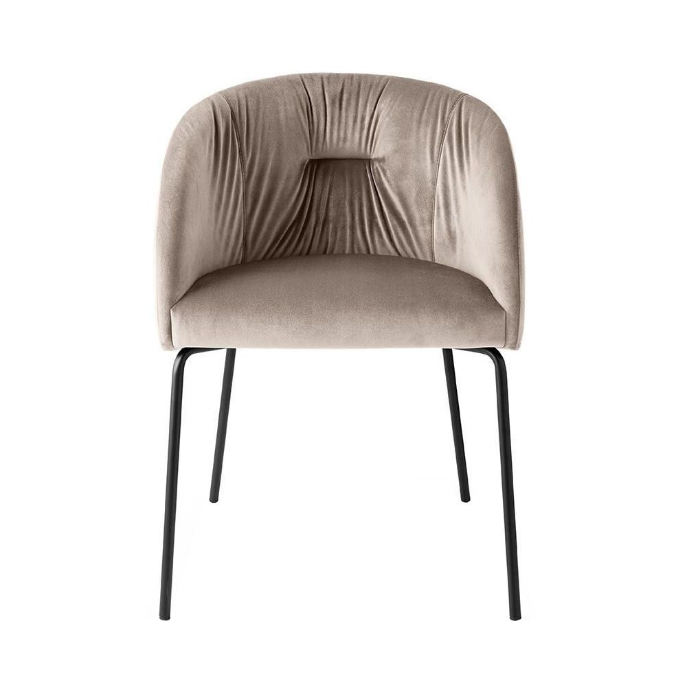Black varnished metal armchair, seat covered with sand grey Venice fabric