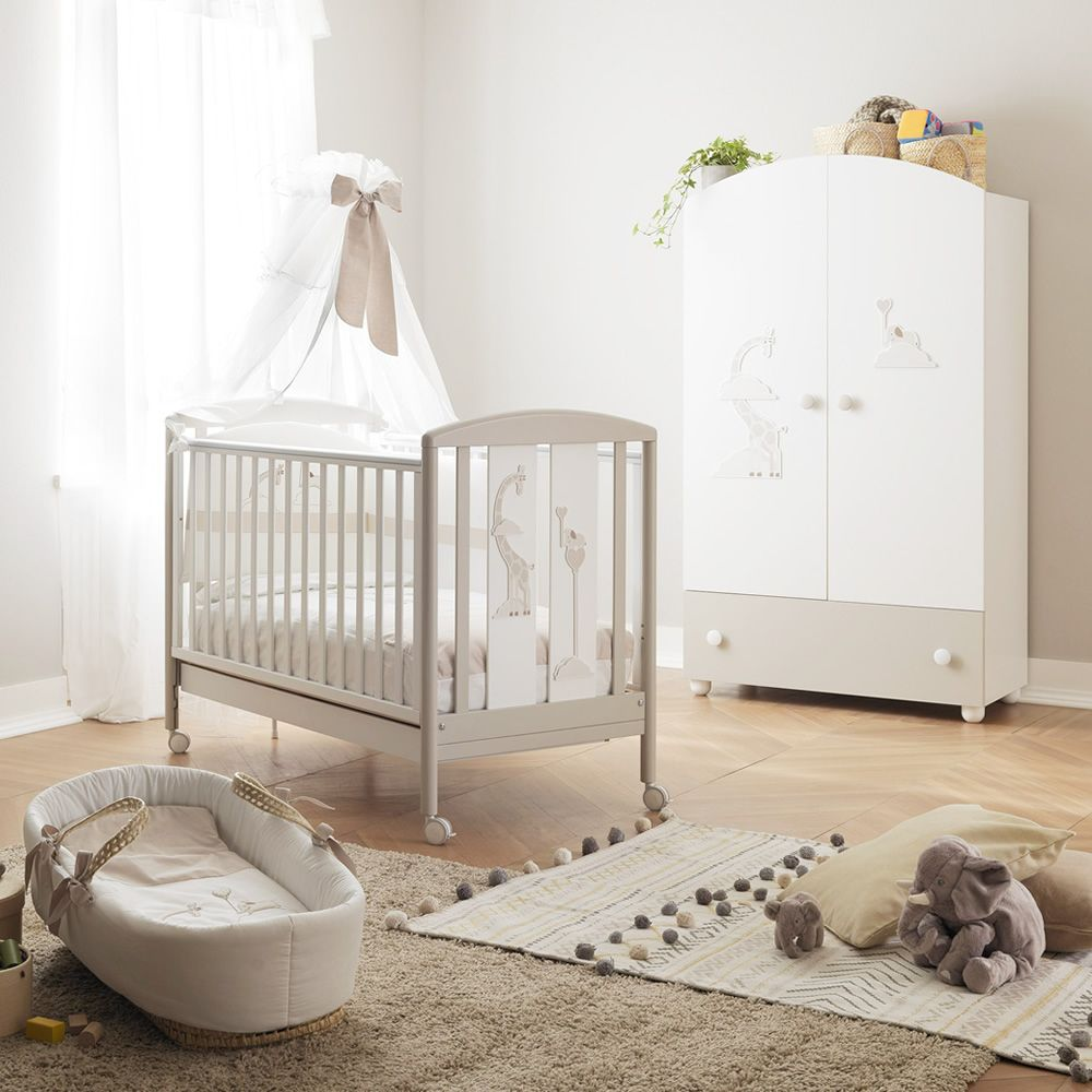 Wooden cot in white-dove grey lacquered, with canopy with beam