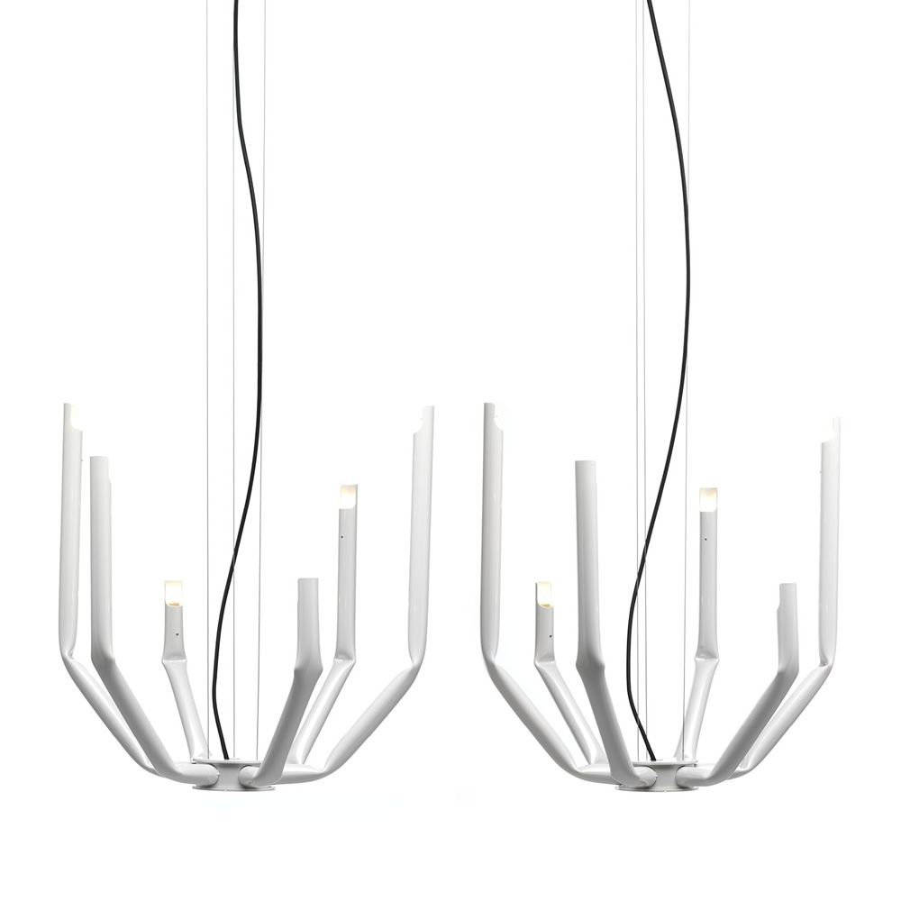 Suspension lamp in white painted metal (Size: Small)