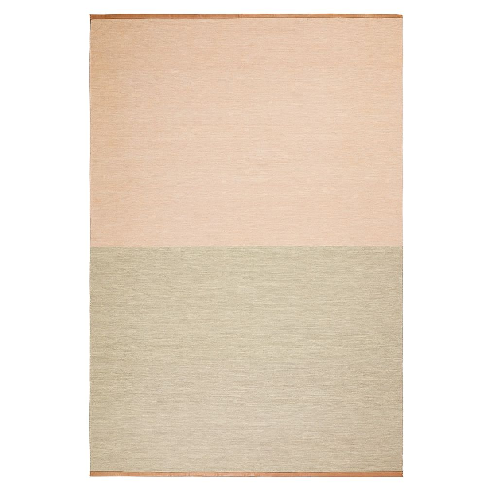 Rug in pure wool, in pink-beige colour, with leather edges