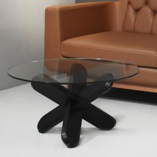 Ding - Normann Copenhagen round coffee table in wood with glass top