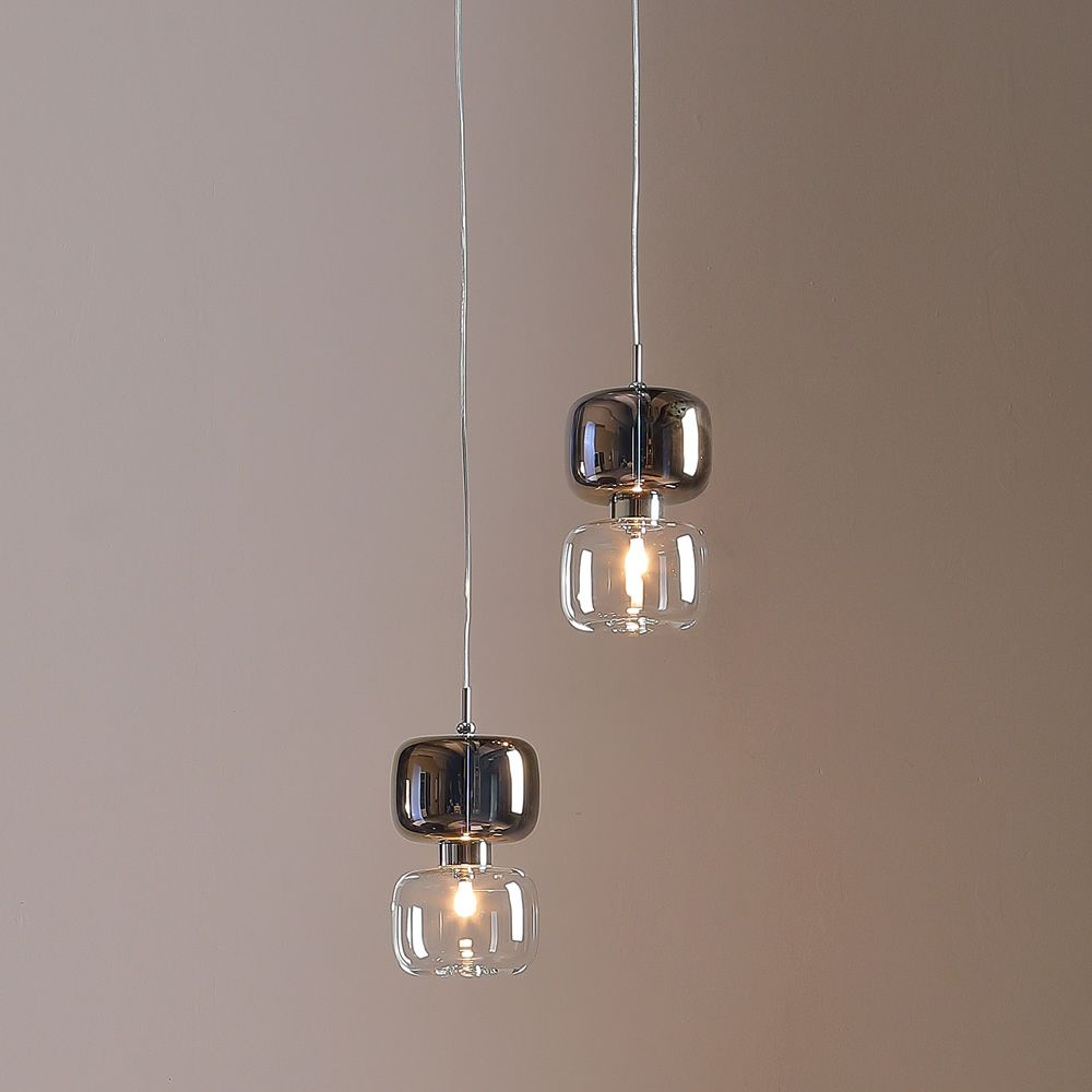 Suspension lamp in metal and glass, bronze-transparent colour, A model
