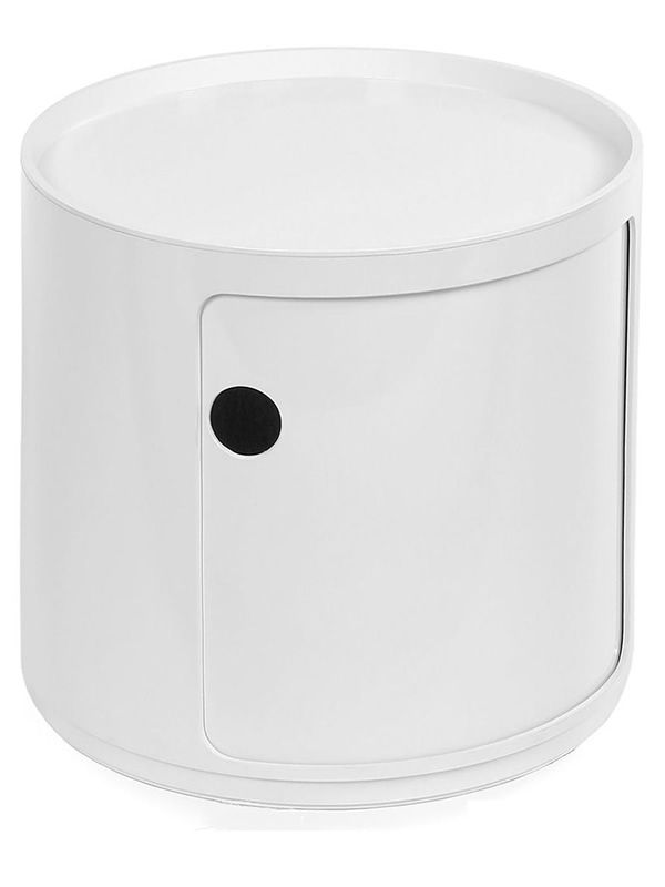 Design Kartell container equipped with one drawer and the additional shelf, white colour