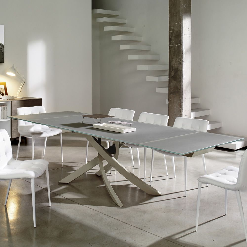 Table with metal base lacquered sand and top in lacquered matt dove grey Velvet glass
