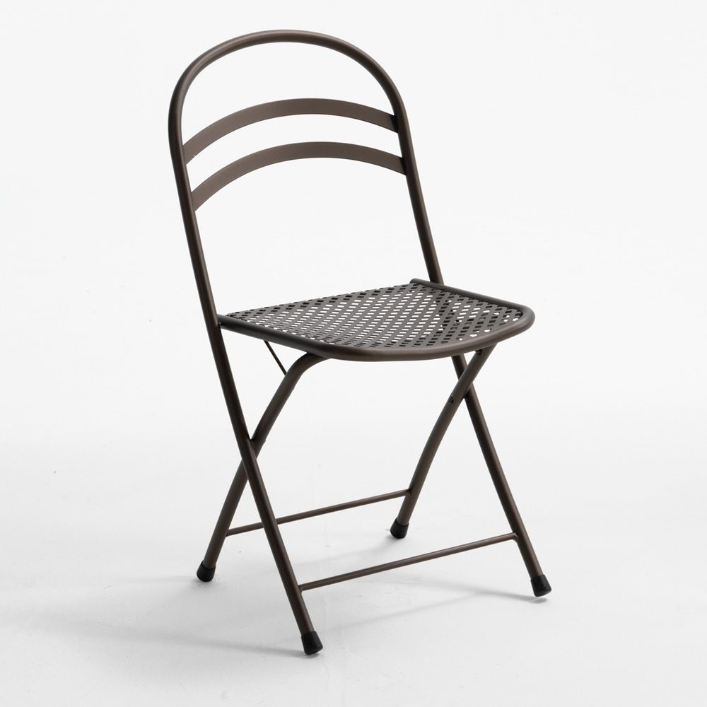 Folding metal chair, anthracite grey color, for garden