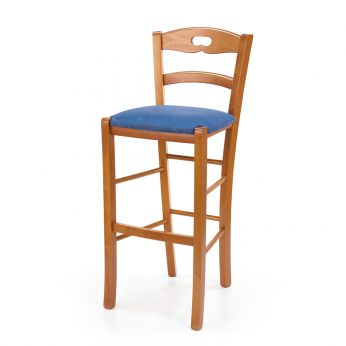 125 S PROMO - Stool in beech wood, honey finish, covered in blue microfiber