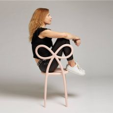 Ribbon Chair - Qeeboo design chair with backrest in shape of a ribbon bow, in polypropylene