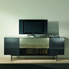 Aly 103 - Contemporary sideboard Bontempi Casa, in wood and glass, with doors and drawers