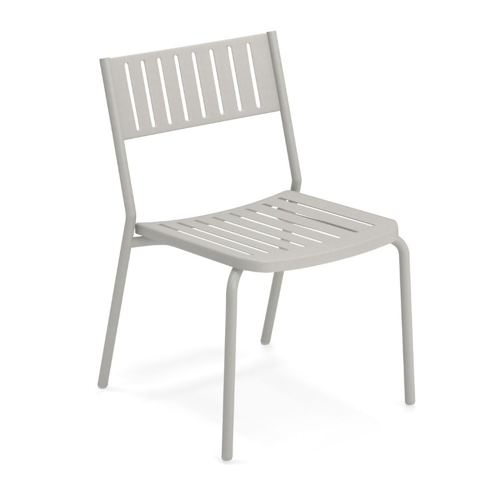 Metal chair in concrete grey varnished